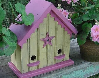 French Country Birdhouse Shabby Cottage Bird House Yellow with Pink Bird House