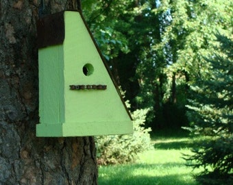 Lime Green Rustic Birdhouse Recycled Bike Chain Perch Upcycled Bird House Outdoor Garden Birdhouse