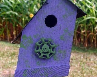 Rustic Lavender Birdhouse Decorative Bird House Functional Birdhouses Vintage Faucet Lavender