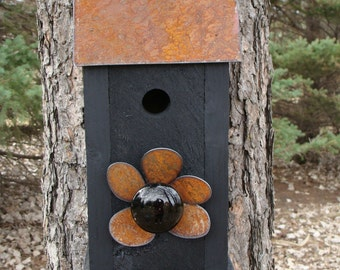 Rustic Birdhouse, Decorative Bird House, Functional Birdhouse, Wood Birdhouse, Outdoor Birdhouse, Black