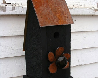Rustic Birdhouse Wooden Bird House Garden Art Outdoor Birdhouses Functional Bird Houses Black Cottage Farmhouse