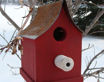 Rustic Farm Birdhouse Old Insulator Perch Metal Roof Cottage Garden or Home Decor