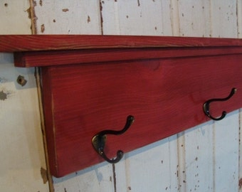 Coat Hook Shelf Towel Holder Entryway Wall Decor Rustic Cottage Farmhouse Red Custom