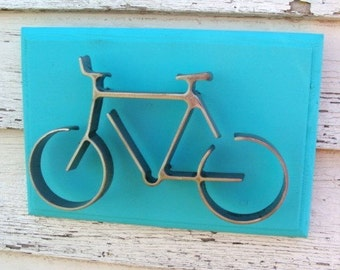 Metal Bike Wall Decor Modern Iron Bicycle Nursery Decor Cyclist Sports Themed Art Marine Sea Blue