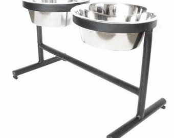 Reclaimed Steel Modern Dog Bowl Holder Elevated Pet Feeder Dog Stand for Large Dogs 5 qt Bowls Forged Iron