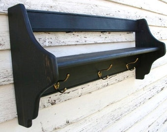 Entryway Shelf with Hooks Storage Shelf with Hooks Bathroom Shelf with Hooks Custom