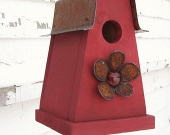 Rustic Cottage Red Birdhouse Metal Flower Industrial Garden Decor