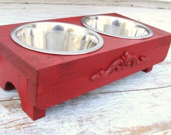 Bowl Holder, Cat Dish, Feeding Stand, Elevated Dog Feeder, Dog Bowls, Raised Dog Bowl, Red Painted French Country Farmhouse Beach Custom