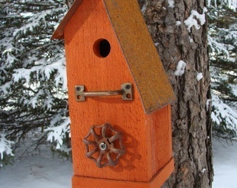 Rustic Birdhouse, Bird House, Functional Birdhouses, Garden Decor, Rustic Wood Birdhouse, Outdoor Birdhouse