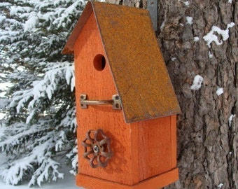 Rustic Orange Birdhouse Outdoor Bird House Vintage Recycled Birdhouse Industrial Chic Birdhouses