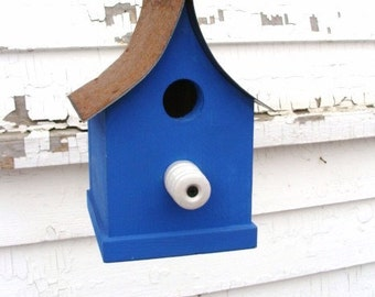 Rustic Birdhouse Vintage Insulator for the Perch Wood Bird House Indigo Blue
