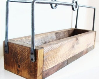 Rustic Wood Tray, Wood Tray, Rustic Home Decor, Wine Storage, Forged Iron Handles