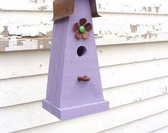 Rustic Decorative Birdhouse Wooden Bird House Cottage Functional Birdhouse Lavender
