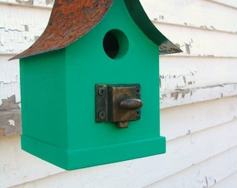 Rustic Birdhouse Decorative Outdoor Bird House Garden Decor Emerald Green