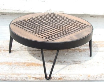 Rustic Tray Wood and Steel Furniture Decorative Plant Stand Hand Forged by Blacksmith