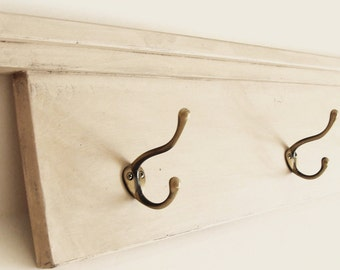 Entryway Shelf, Shelf with Hooks, Coat Hook Shelf, Towel Hook, Bathroom Shelf with Hooks, Cottage Modern Home Decor