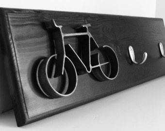 Key Hook Rack Metal Bike Art Sculpture Bike Wall Hanging Organizer for Home Office Dorm Room Modern Black & Silver