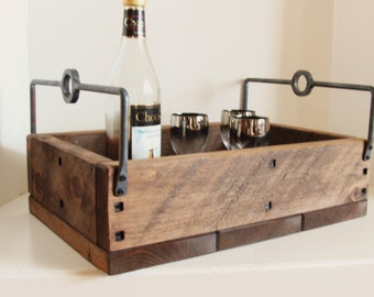 Rustic Tray Industrial Wood and Steel Serving Tray Forged Iron Handles