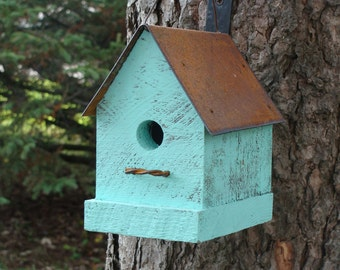 Birdhouse, Bird House, Rustic Birdhouse, Cottage Birdhouse, Functional Birdhouse, Garden Decor, Aqua