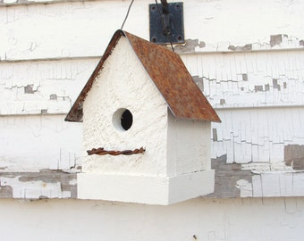Cottage White Bird House
