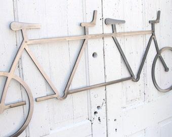 "Bicycle Wall Art Decor Tandem Bike Wall Hanging  Bike Decor Industrial Steel Wall Art, Cyclist Gift 54"" long x  22""  tall"