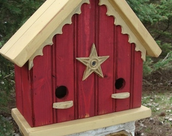 French Country Birdhouse Cottage Farmhouse Home Decor Red and Yellow Finish