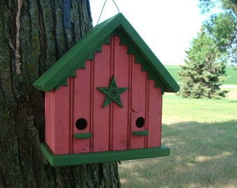 Cottage Birdhouse - Outdoor Bird House - Decorative Birdhouses - Wood Bird houses - Raspberry Pink