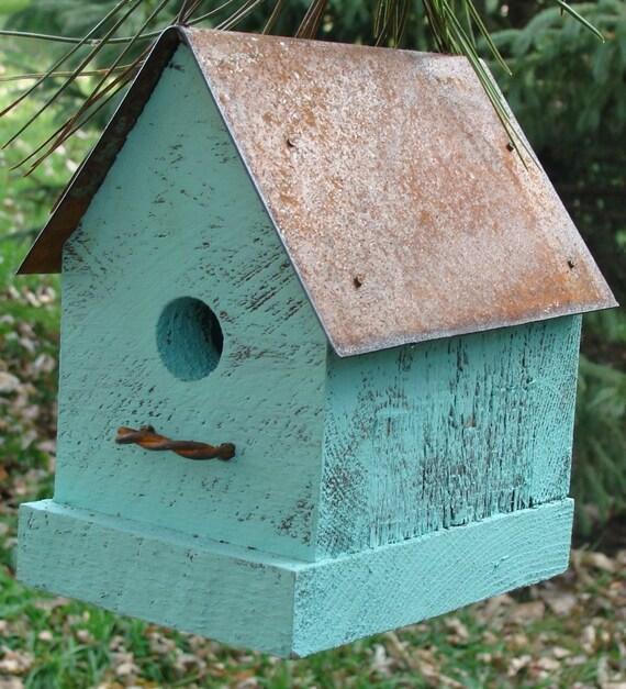 Farmhouse Chic Birdhouse Primitive Rustic Aqua Cottage