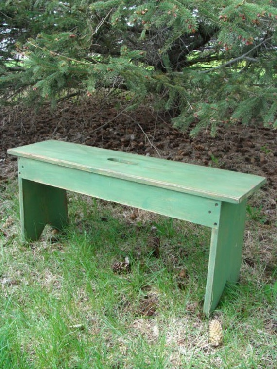 Primitive Bench Shabby Cottage Grass Green Distressed