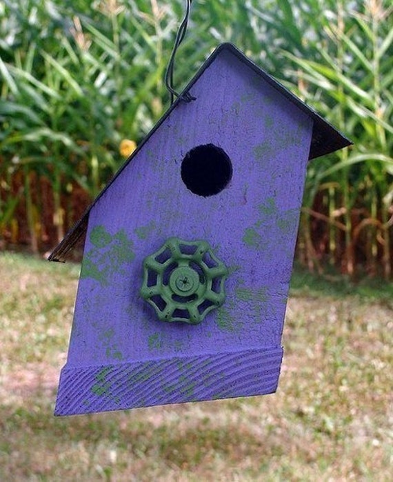 Rustic Recycled Birdhouse Lavender Bird House Cottage Chic Simple and Sweet