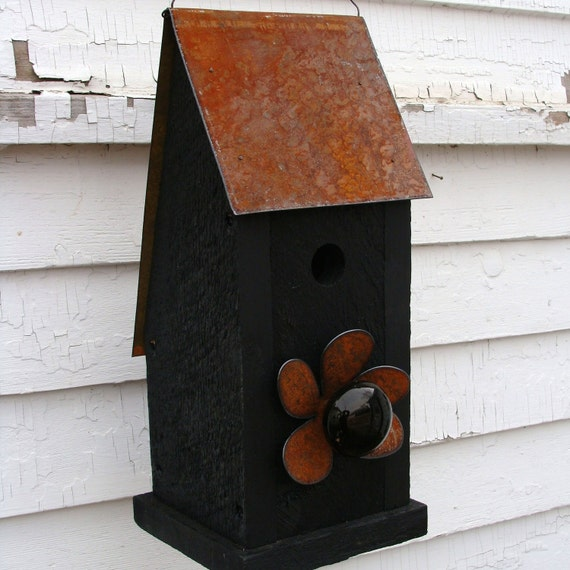 Rustic Birdhouse Wooden Bird House Garden Art Outdoor Birdhouses Functional Bird Houses Black Cottage Farmhouse
