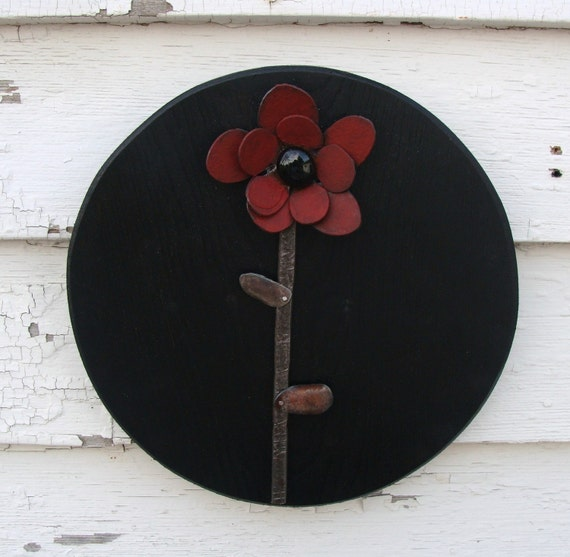 Red Metal Flower on Black Wood Frame Wall Decor Simple and Sweet Cottage Mid Century Modern