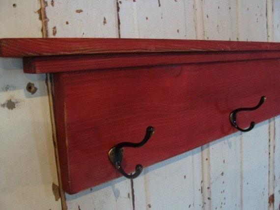 Coat Hook Shelf Towel Holder Entryway Wall Decor Rustic Cottage Farmhouse Red Custom