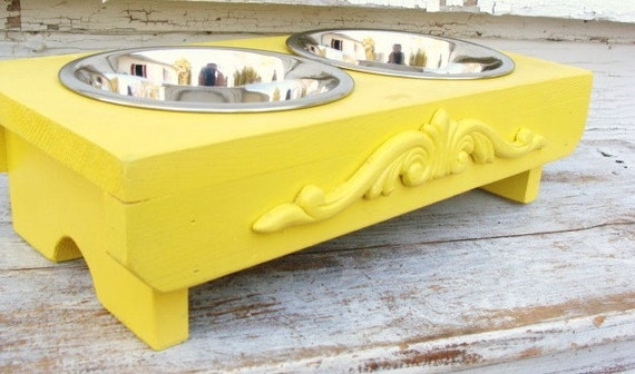 Dog Feeder Cat Bowl Holder Elevated Feeding Stand Lemon Yellow Cottage Modern