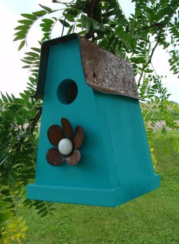 Rustic Blue Birdhouse Outdoor Bird House Cottage Garden Decor