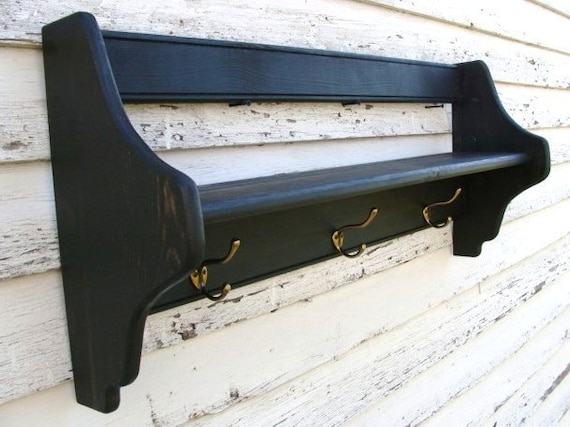 Wall Storage Shelf with Hooks for Coats Jackets by baconsquarefarm