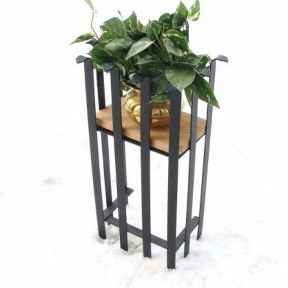 Mid Century Modern Plant Stand Modern Industrial Planter Stand Steel - Wood - Flower Pot Holder Blacksmith Forged Handmade