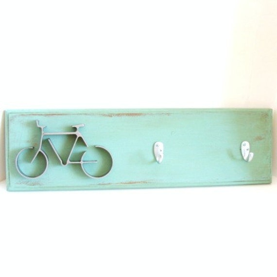 Key Hooks Organizer Office Wall Decor Metal Bike Art  Hook Rack Aqua Blue