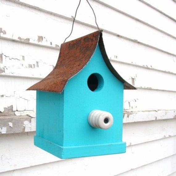 Rustic Birdhouse, Decorative Bird House, Wood Birdhouse, Cottage Birdhouse, Garden Bird House, Blue