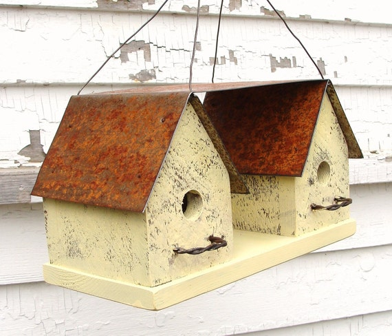 Recycled Birdhouse Rustic Breezeway Bird House Yellow French Cottage Beach Home Decor