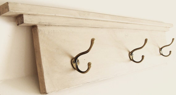 Entryway Shelf, Shelf with Hooks, Coat Hook Shelf, Towel Hook, Bathroom Shelf with Hooks, Cottage Modern Home Decor