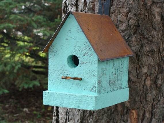 Birdhouse Bird House Rustic Birdhouse Cottage Birdhouse Functional Birdhouse, Garden Decor, Aqua