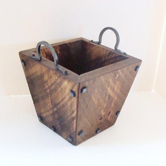 Industrial Wood Box Storage Box Rustic Wooden Vase Wine Holder Blacksmith Forged Iron Handles