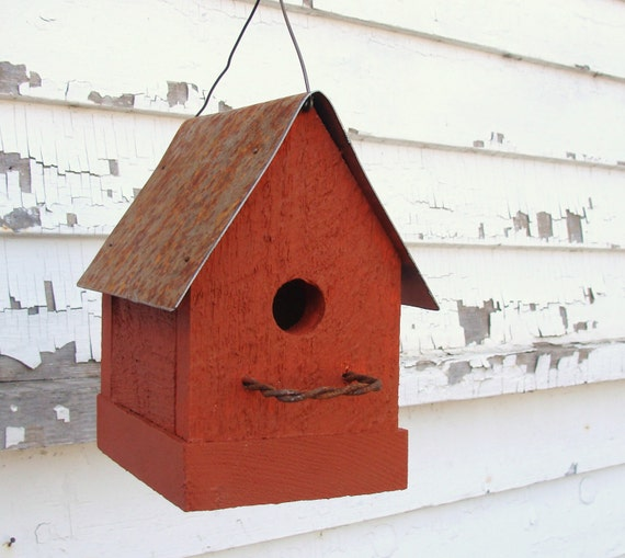 Rustic Cottage Orange Birdhouse Wooden Bird House Garden Decor Simple Sweet Adorable