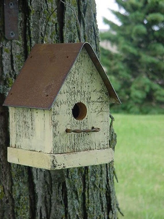 Rustic Yellow Shabby Cottage Birdhouse