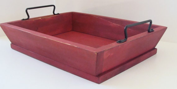 Serving Tray Ottoman Tray Breakfast in Bed Tray Coffee Table Tray Hand Forged Iron Handles Red Custom