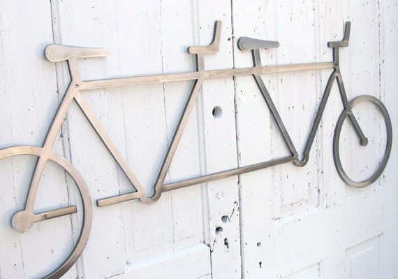 "Bicycle Wall Art Decor Tandem Bike Wall Hanging  Bike Decor Industrial Steel Wall Art, Cyclist Gift 54"" long x  22""  tall"