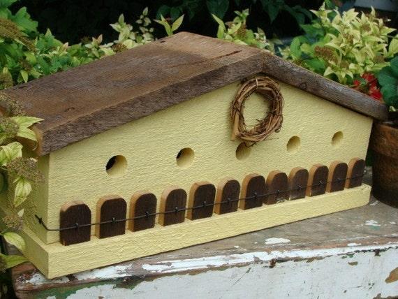 Rustic Cottage Birdhouse, Farmhouse Birdhouse, Decorative Bird House, Yellow Birdhouse, Outdoor Bird House