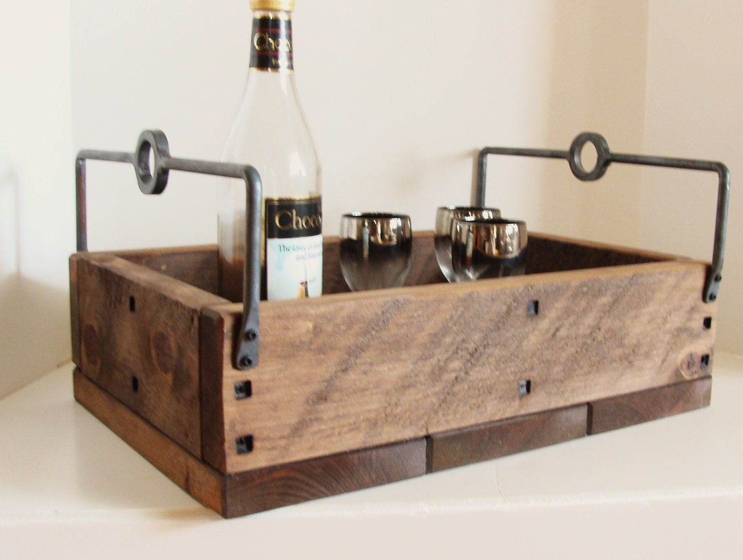 🔎zoom - Rustic Tray Industrial Wood And Steel Serving Tray Forged Iron