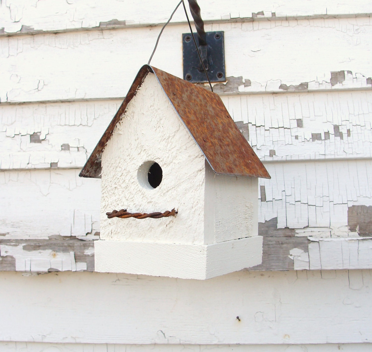 Rustic white french country birdhouse simple by for Simple birdhouse